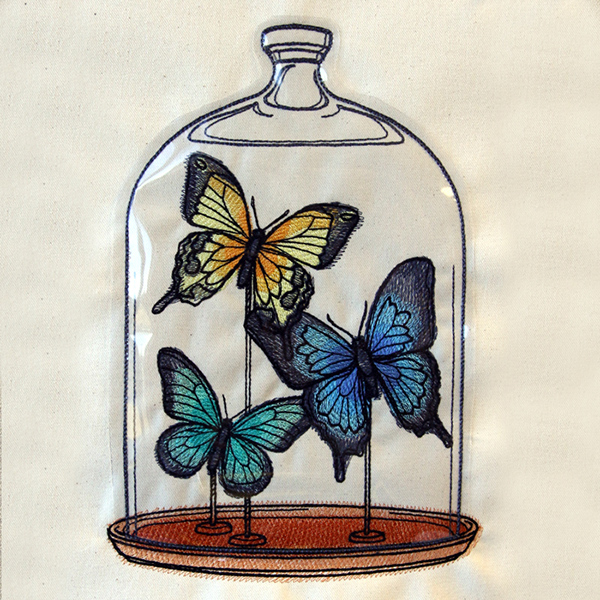Butterfly Bell Jar Vinyl Applique Urban Threads