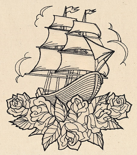 Thread Tattoos - Ship and Roses | Urban Threads: Unique ...