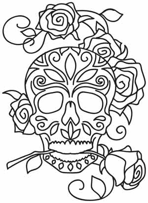 Day Of The Dead Skull Template Printable. Day of the Dead Coloring ...