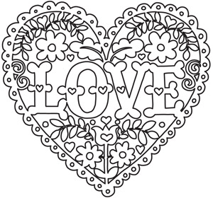 Coloring Pages With Flowers And Hearts : Love and Flowers Heart Urban Threads: Unique and Awesome Embroidery Designs