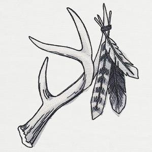 Ink & Wash - Antler and Feathers_image