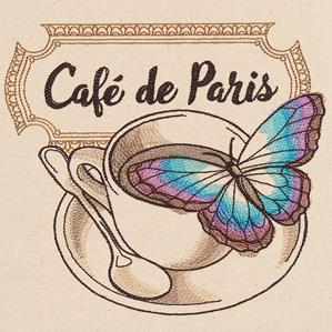 French Cafe - Coffee Cup with Butterfly_image