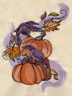Painted Ravens and Pumpkins_image