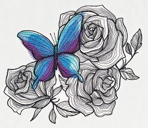 Engraved Butterfly and Roses_image