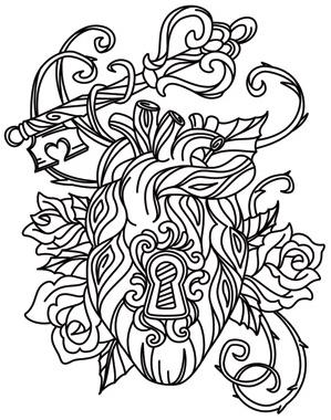 Heart lock and key tattoo designs sketch coloring page for Key coloring pages