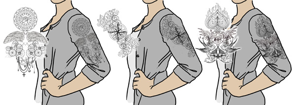 Tutorials urban threads unique and awesome embroidery designs building your own tattoo sleeve design is fun and easy once you know what to look for first start with contemporary light stitching designs malvernweather Choice Image
