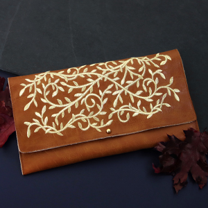 Embroidered Faux Leather Clutch_image