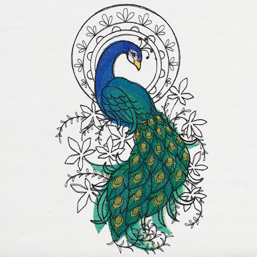 Indian Peacock Urban Threads Unique And Awesome Embroidery Designs