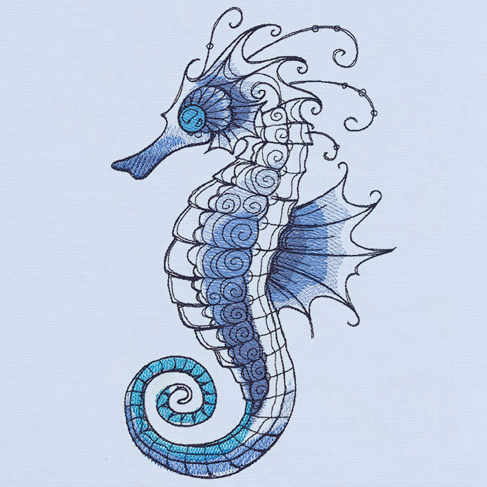 ocean blue seahorse urban threads unique and awesome embroidery