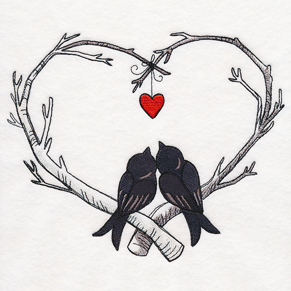 Poe Etic Love Birds Urban Threads Unique And Awesome Embroidery Designs