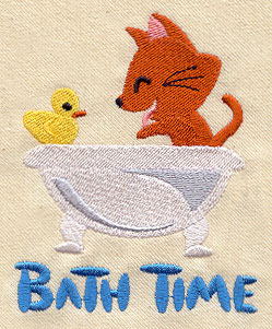 Bath time kitty urban threads unique and awesome for Bathroom embroidery designs