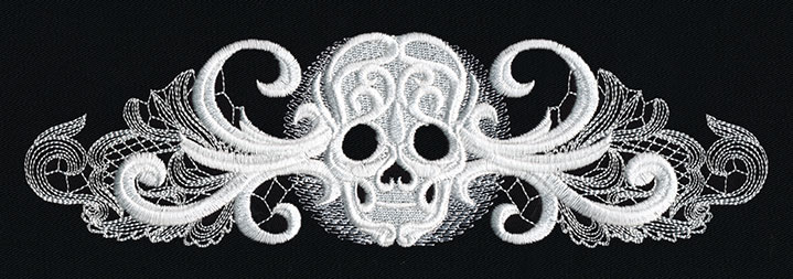 ghost baroque skull border urban threads unique and awesome embroidery designs. Black Bedroom Furniture Sets. Home Design Ideas