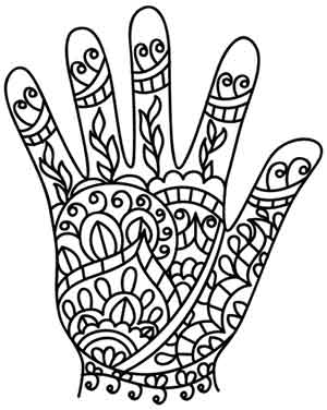 free coloring pages india designs | Henna Hand | Urban Threads: Unique and Awesome Embroidery ...