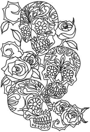 Skull Couple Coloring Page