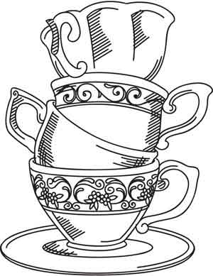 This is an image of Sassy Teacup Coloring Pages
