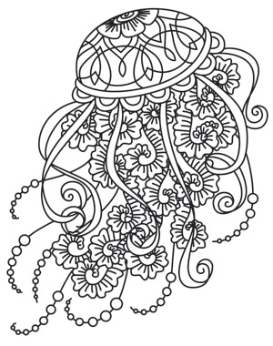 Drifting jellyfish urban threads unique and awesome for Jelly fish coloring page