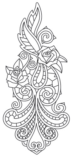Quilling Line Art : Rose bone sleeve accent urban threads unique and