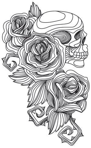 Engraved Skull And Roses Urban Threads Unique And