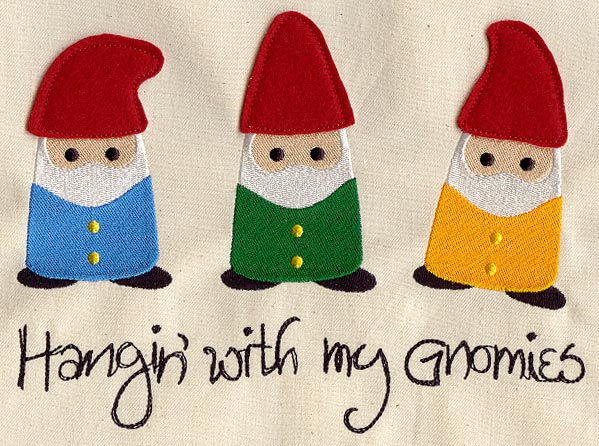 Hangin with my gnomies applique urban threads unique and