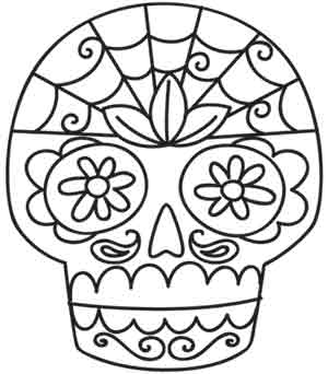Sugar skull urban threads unique and awesome embroidery for Day of the dead skull coloring pages printable