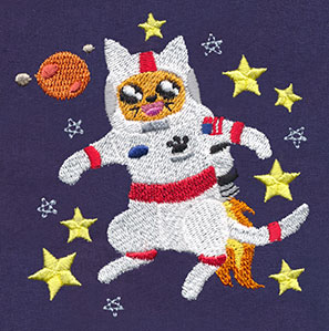 Cat in space urban threads unique and awesome for Space embroidery patterns