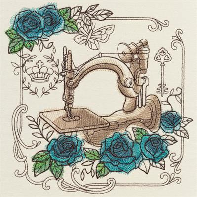 Parisian Sewing Machine and Roses_image