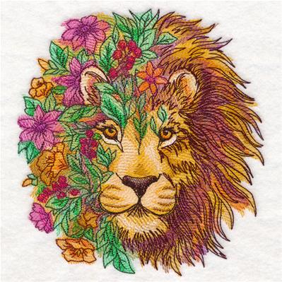 Lion in Flowers_image