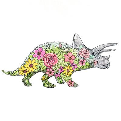Triceratops in Flowers_image