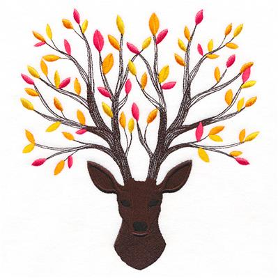 Branching Fall Leaves Deer_image