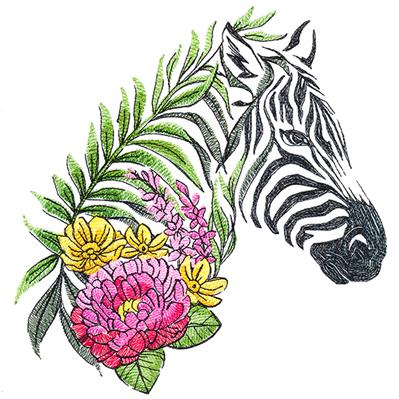 Zebra in Flowers_image