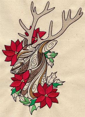 Doodle Reindeer and Poinsettias_image