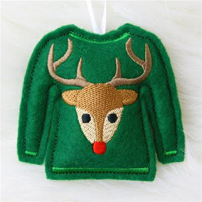 Ugly Christmas Sweater Ornament (In-the-Hoop)_image