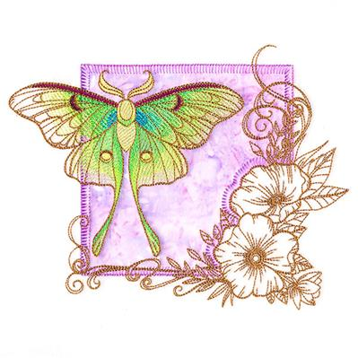 Brilliant Luna Moth and Blooms (Applique)_image