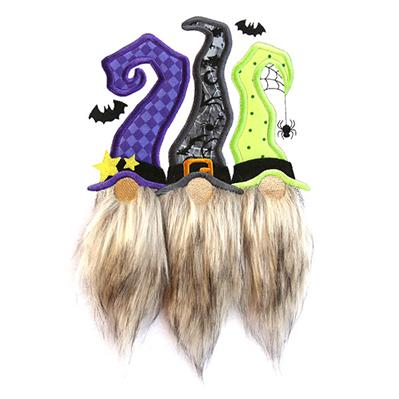 Fluffy Halloween Gnome Trio (Applique)_image
