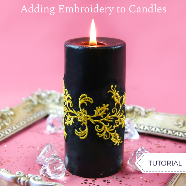 Adding Embroidery to Candles