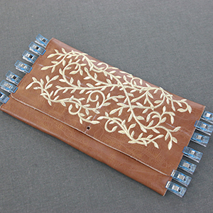 Embroidered Faux Leather Clutch